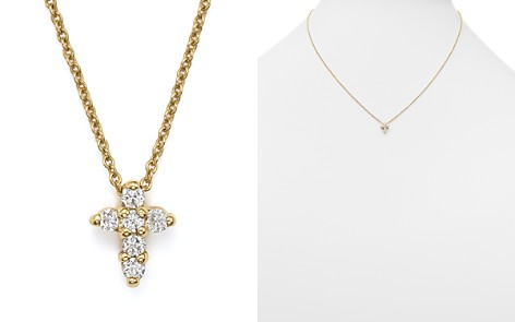 Diamond cross bloomingdales roberto coin 18k yellow gold small cross necklace 16 bloomingdales2 aloadofball Image collections